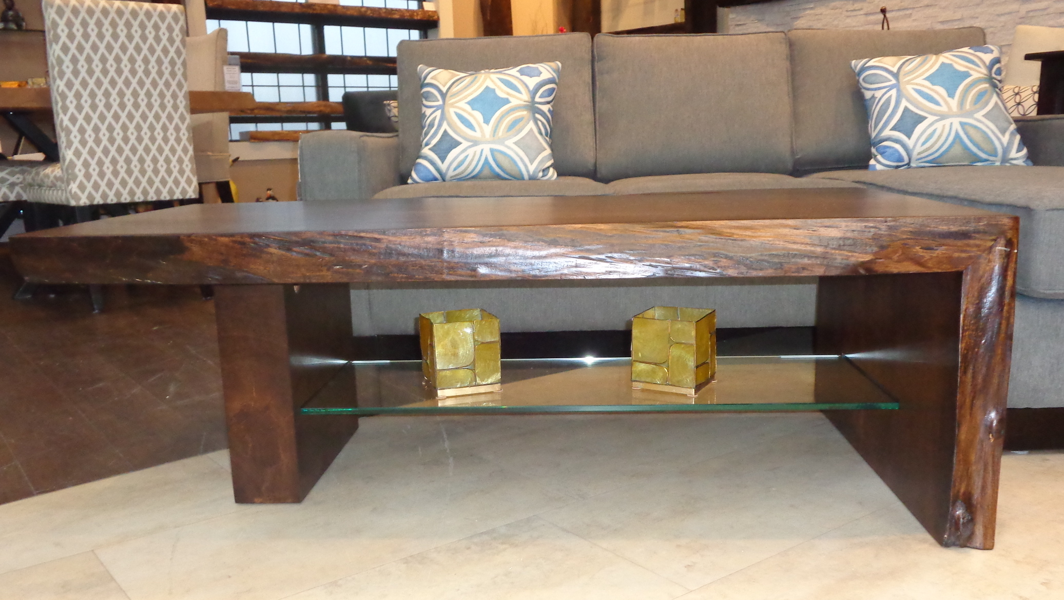 Superb Maple Coffee Table W Glass Shelf Natural Edge Mantels Bralicious Painted Fabric Chair Ideas Braliciousco